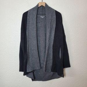 Vince Black & Gray Wool & Cashmere Shawl Collar Cardigan